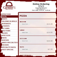 Carmine's Pizza Factory Web ordering